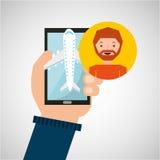 La mano sostiene el aeropuerto del viaje de la aplicación móvil de la barba del hombre Fotografía de archivo libre de regalías