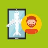 La mano sostiene el aeropuerto del viaje de la aplicación móvil de la barba del hombre Fotos de archivo libres de regalías