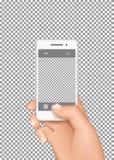 La mano sostiene smartphone y toma la foto ilustración del vector