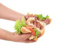 La mano tiene la metà due dell'hamburger. Immagine Stock Libera da Diritti