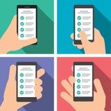 La mano tiene uno Smart Phone nella posizione verticale Fotografia Stock