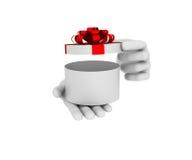 la mano umana bianca 3d tiene il contenitore di regalo aperto di bianco illustrazione 3D Immagini Stock