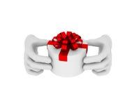 la mano umana bianca 3d tiene il contenitore di regalo bianco illustrazione 3D whit Immagini Stock
