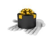 la mano umana bianca 3d tiene il contenitore di regalo nero illustrazione 3D whit Fotografia Stock