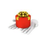 la mano umana bianca 3d tiene il contenitore di regalo rosso illustrazione 3D bianco Immagine Stock