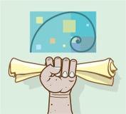 La mano umana tiene un rotolo di carta Immagini Stock