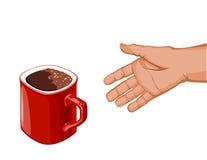 La mano va a la taza de café roja Fotografía de archivo libre de regalías