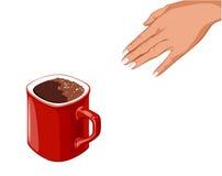 La mano va a la taza roja Foto de archivo libre de regalías