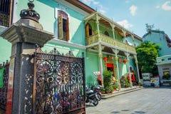 La mansión de Pinang Peranakan, es un museo que contiene antigüedades y que muestra las aduanas de Peranakans, diseño interior y Fotografía de archivo libre de regalías