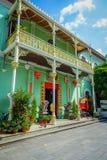 La mansión de Pinang Peranakan, es un museo que contiene antigüedades y que muestra las aduanas de Peranakans, diseño interior y Foto de archivo libre de regalías