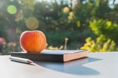 La manzana con el libro de cuero y pluma en fondo de la naturaleza Fotografía de archivo
