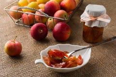 La manzana hecha en casa corta la mermelada foto de archivo libre de regalías