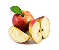 La manzana hermosa en un fondo blanco Imagen de archivo