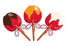 La manzana roja en caramelo y chocolate y dulce asperja con el palillo en él Ejemplo simple del vector en el fondo blanco Foto de archivo
