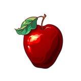 La manzana roja en un fondo blanco Fruta brillante del verano Vector Fotografía de archivo libre de regalías