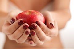 La manzana roja grande en manos femeninas hermosas Imagen de archivo