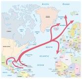 La mappa del golfo e l'Atlantico Settentrionale scorrono nell'Oceano Atlantico royalty illustrazione gratis