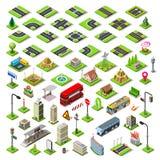 La mappa della città ha messo 01 mattonella isometrica illustrazione di stock