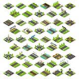 La mappa della città ha messo 02 mattonelle isometriche illustrazione vettoriale