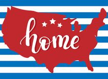 La mappa di Abstact degli Stati Uniti e della mano ha segnato il ` con lettere di citazione per dirigersi il ` dentro illustrazione vettoriale