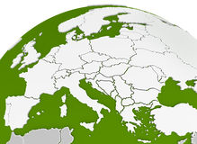 La mappa di Europa ha incurvato sulla sfera Immagine Stock
