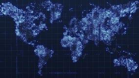 La mappa di mondo globale della tecnologia, la terra piana, l'icona del worldmap del globo, 3d rende il backgroung illustrazione vettoriale