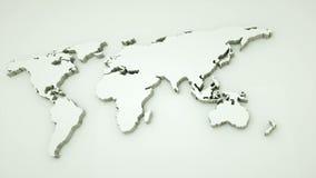 La mappa di mondo globale, mappa piana della terra 3d è sulla parete, il simbolo del worldmap del globo, 3d rende il fondo genera illustrazione di stock