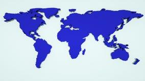 La mappa di mondo globale, mappa piana della terra 3d ? sulla parete, il simbolo del worldmap del globo, 3d rende il fondo genera illustrazione vettoriale