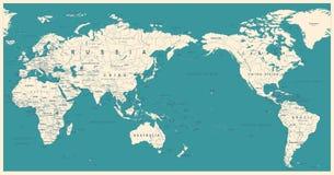 La mappa di mondo politica d'annata il Pacifico ha concentrato illustrazione di stock
