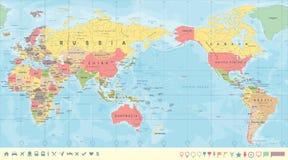 La mappa di mondo politica d'annata il Pacifico ha concentrato illustrazione vettoriale