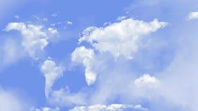 La mappa di mondo si appanna nel ciclo continuo del rotolo 4K del cielo stock footage