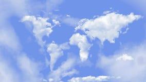 La mappa di mondo si appanna nel ciclo del rotolo 4K del cielo stock footage