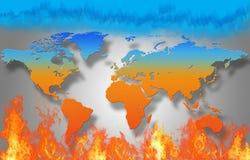 La mappa di mondo sta bruciando Fotografia Stock Libera da Diritti