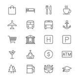 La mappa e la posizione assottigliano le icone Immagini Stock Libere da Diritti