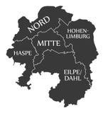 La mappa Germania DE della città di Hagen ha identificato l'illustrazione nera Immagini Stock Libere da Diritti