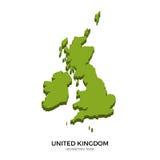 La mappa isometrica del Regno Unito ha dettagliato l'illustrazione di vettore Fotografia Stock