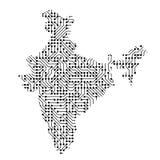 La mappa schematica astratta dell'India dal nero ha stampato il bordo, ch illustrazione vettoriale