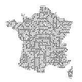 La mappa schematica astratta della Francia dal nero ha stampato il bordo, c illustrazione di stock
