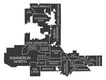 La mappa U.S.A. della città di Las Vegas Nevada ha identificato l'illustrazione nera Fotografia Stock Libera da Diritti