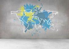 La mappa variopinta con pittura ha schizzato il fondo della parete Fotografia Stock Libera da Diritti