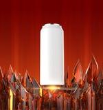 La maqueta blanca en blanco de la lata de cerveza en la base cristalina roja brillante 3d rinde, stock de ilustración