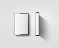 La maqueta en blanco del diseño de la caja de la cinta de casete, perfila vista lateral Fotos de archivo libres de regalías