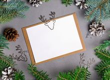 La maqueta rústica de la tarjeta de Navidad del estilo con el abeto ramifica Imagen de archivo libre de regalías