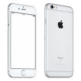 La maquette argentée de l'iPhone 6S d'Apple a légèrement tourné la vue de face image stock