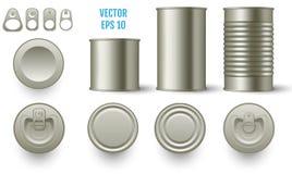 La maquette cylindrique réaliste de bidon met en boîte la diverse taille réaliste illustration libre de droits