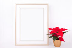 La maquette de Noël a dénommé la photographie courante avec le cadre d'or Photos libres de droits