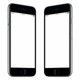 La maquette noire de smartphone a légèrement tourné les deux côtés image libre de droits