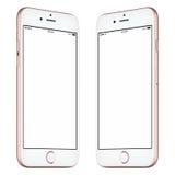 La maquette rose de smartphone a légèrement tourné les deux côtés photo libre de droits