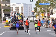 La-Marathon - 15 Maart, 2015 Zonsondergang Blvd Stock Fotografie