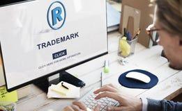 La marca de la marca registrada endereza el concepto de Copyright de la protección Fotos de archivo libres de regalías